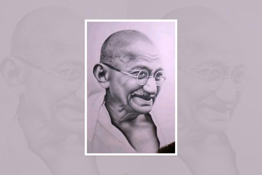 "Artwork by Tanmay Singh, Varanasi, Uttar Pradesh, India - part of the select artworks from international art competition ""World of Mahatma Gandhi"""