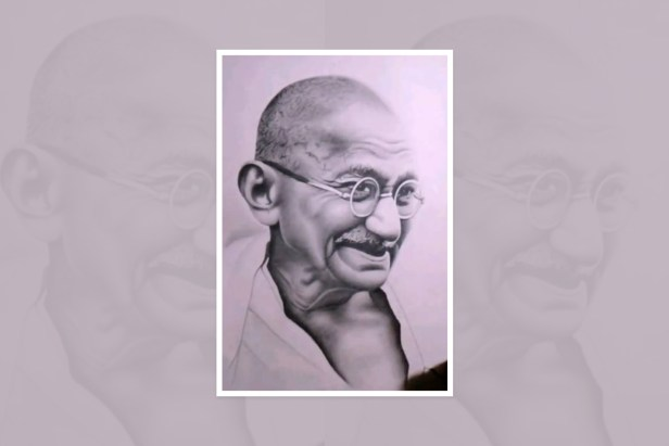 "Artwork by Tanmay Singh, Varanasi, Uttar Pradesh, India - part of the select artworks from international art competition ""World of Mahatma Gandhi"""