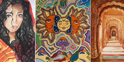 Prize winning paintings from national art competition in U.S. by Ekal Vidyalaya Foundation and Khula Aasmaan