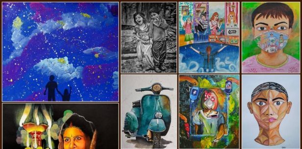 shortlist of children and college students with artworks by some of shortlisted children artists and college students from Khula Aasmaan खुला आसमान drawing and painting competition