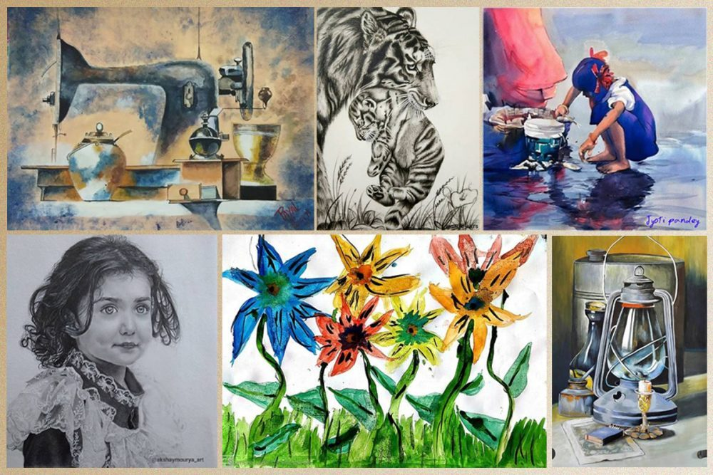 Some of the shortlisted artworks from Khula Aasmaan art contest for April to June 2020