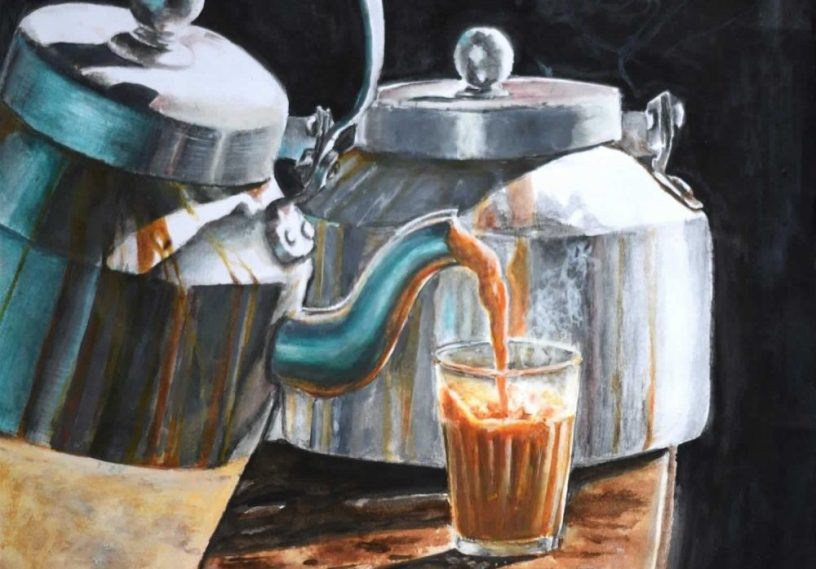 cutting chai painting from a chai tapri