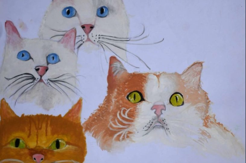"""cat painting by Rohit Nair titled """"6 wonderful cats"""" in poster colours and colour pencils"""