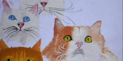 "cat painting by Rohit Nair titled ""6 wonderful cats"" in poster colours and colour pencils"