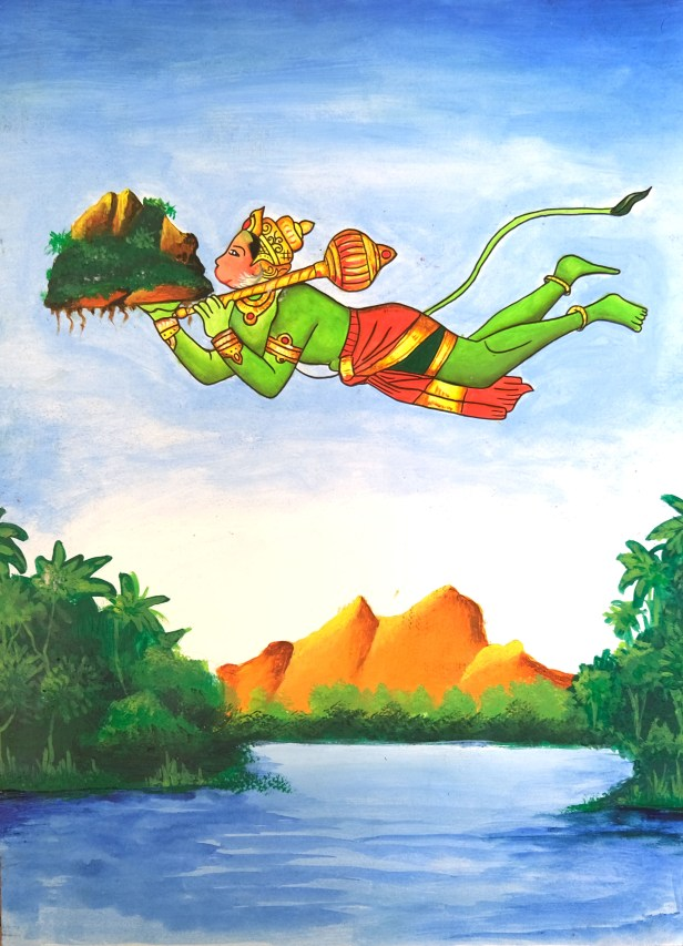 This shortlisted artwork from painting competition on Ramayana shows Hanuman carrying Dronagiri mountain with sanjeevani herb