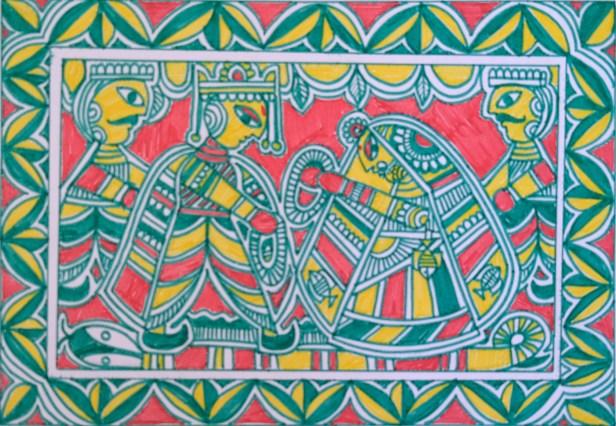 Manjusha painting (folk art of Bihar) titled Marriage of Devi Sita - part of Ramayana art project by Khula Aasmaan (खुला आसमान)