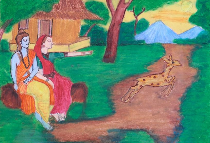 Legend of Goddess Sita and Golden Deer, shortlisted painting from Ramayana Art Contest by Khula Aasmaan (खुला आसमान)