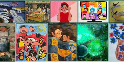some of the artworks by shortlisted artworks from Khula Aasmaan international online art contest