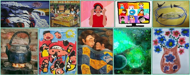some of the artworks by shortlisted artists from Khula Aasmaan international online art contest