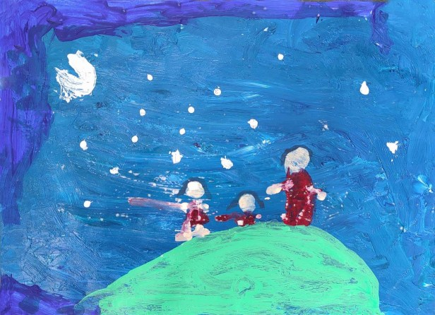 Star gazing painting during family forest trip by Myra Mendoca