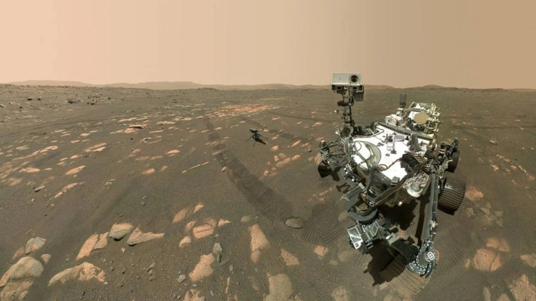 NASA Mars Rover Perseverance's Historic Selfie With Ingenuity Composed of 62 Images