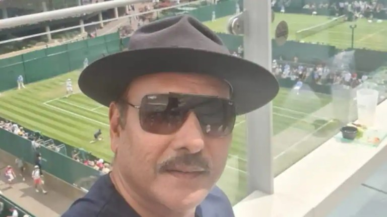 Wimbledon 21: Team India head coach Ravi Shastri visits London to watch Roger Federer match – see pic   Cricket News