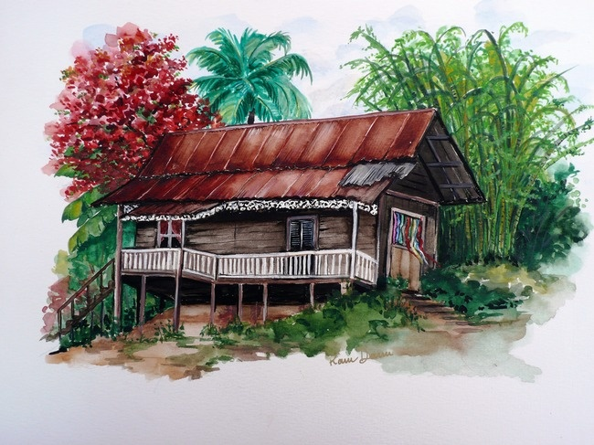 A drawing of 'A House for Mr. Biswas'