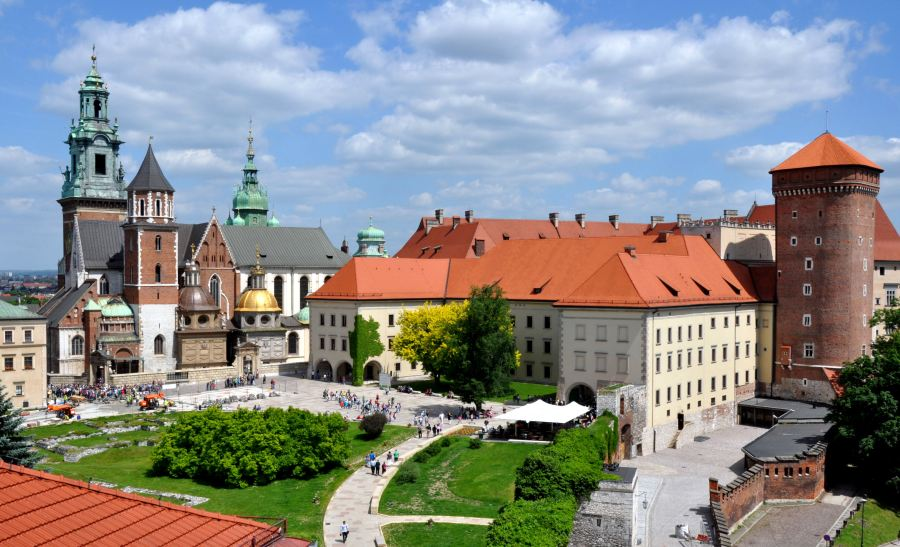 A beautiful shot of the exterior of Wawel Royal Castle in Krakow, Poland