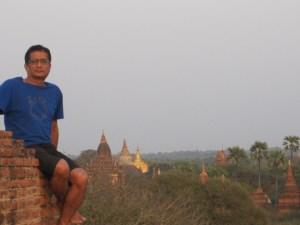 Author Awaiting Sunset on the   Bagan Plain