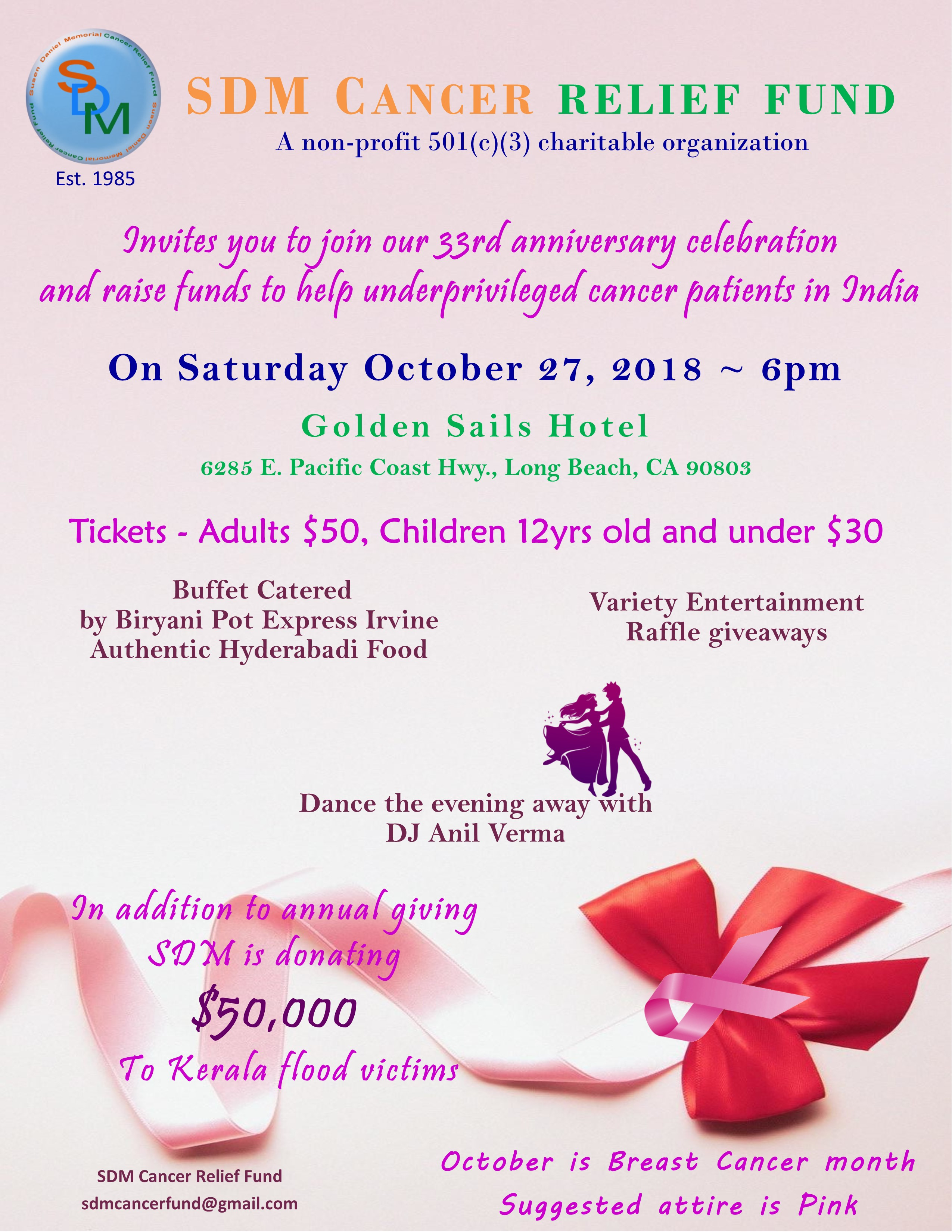 SDM Cancer Relief Fund - 33rd Annual Fundraising Banquet