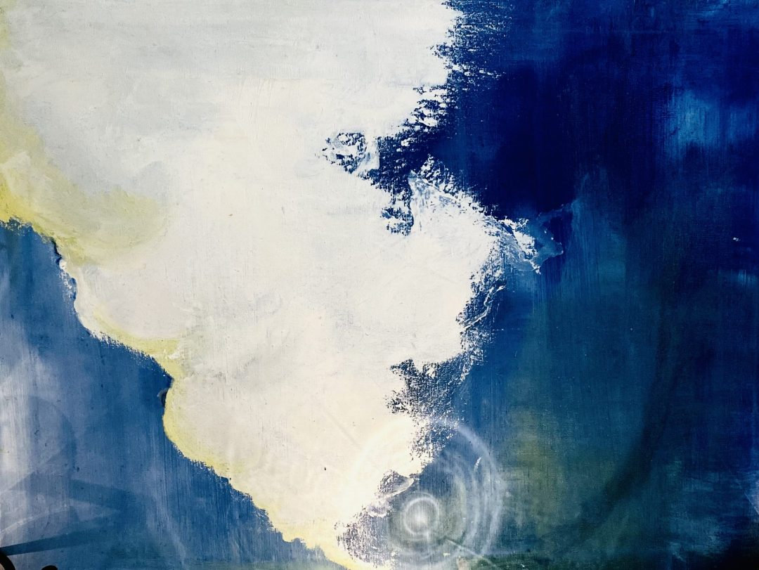 Oil painting by Swati Ramaswamy (crashed waves/clouds dissolving)