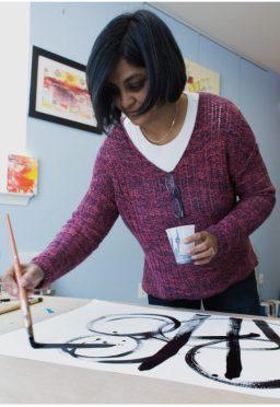 Sushmita Mazumdar painting at Studio PAUSE.