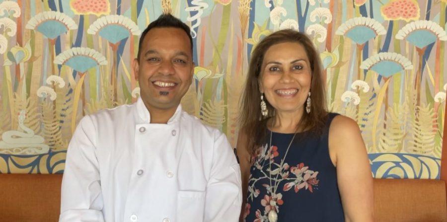 Chef Tiyagi with India Currents' columnist Mona Shah.