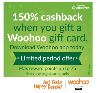 woohoo offer : get 150% cashback on gifting gift cards