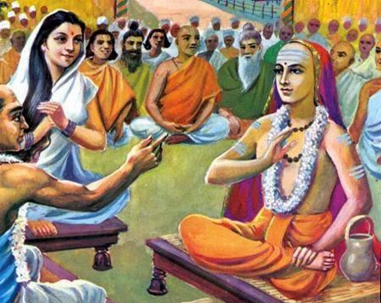 The famous Debate between Adi Shankaracharya and Mandana Mishra. Photo Credit: http://vipasana-vidushika.blogspot.in