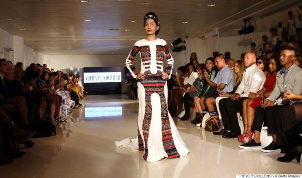 Acid attack survivor Reshma Bano of India walks the runway during the FTL Moda presentation at New York Fashion Week in New York, on September 8, 2016. / AFP / TREVOR COLLENS (Photo credit should read TREVOR COLLENS/AFP/Getty Images)