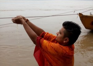 Holy dip in river Ganges