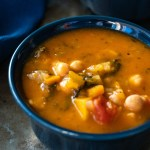 A close up photo of Tuscan Kale and Bean Soup with text added for Pinterest