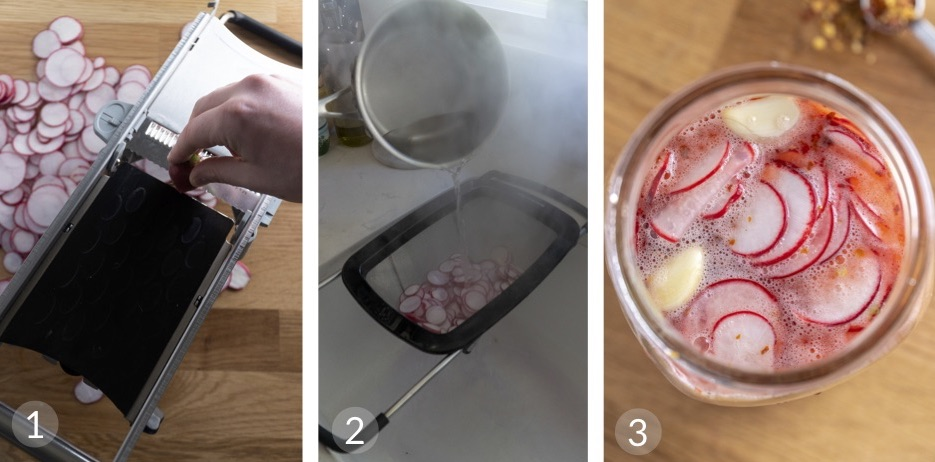Multi-frame image showing how to make quick pickled radishes. The first image shows radishes being sliced on a mandolin. The second image shows the radishes in an over the sink colander with boiling water being poured over. In the third and final image the radishes are stored in the vinegar mixture.