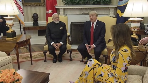 Video grab of PM Narendra Modi with US President Donald Trump on Monday (White House)