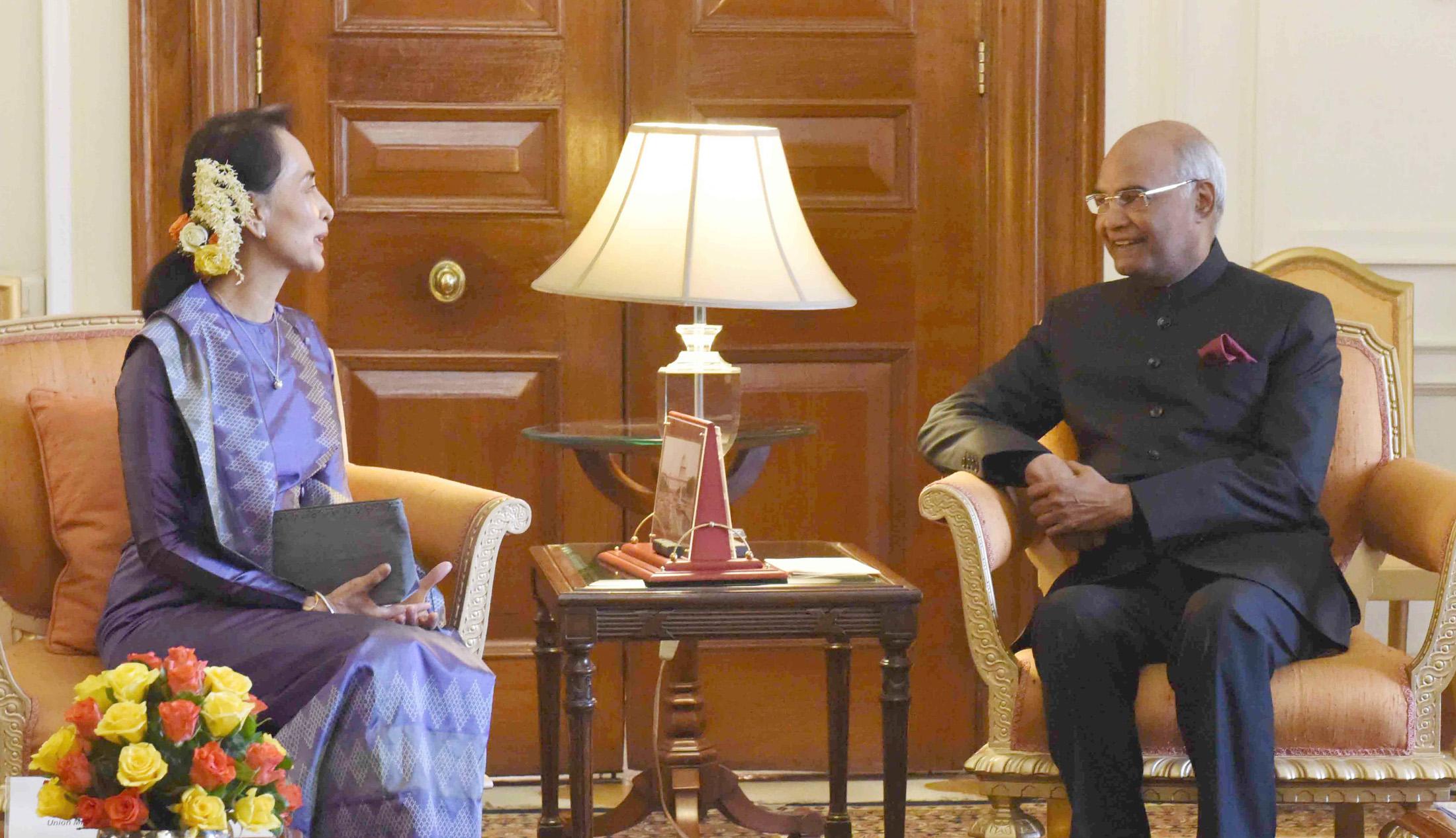Myanmar leader Suu Kyi calls On President Kovind
