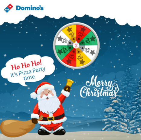 Domino's Spin Wheel Win Gift Offer - Christmas Offer From Domino's