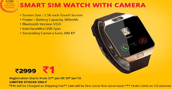 Zotezo Re 1 Flash Sale Smart Sim Watch With Camera