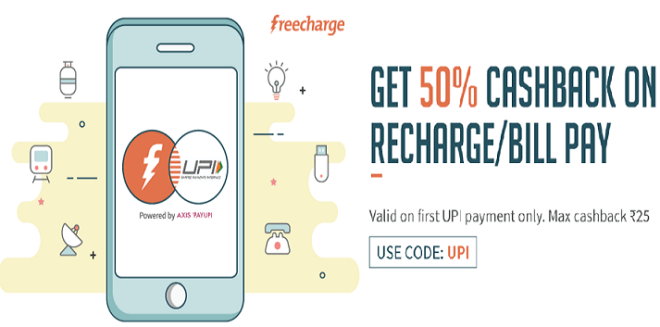 Freecharge UPI Recharge Offer - Get 50% Cashback on Recharge & Bill Payments