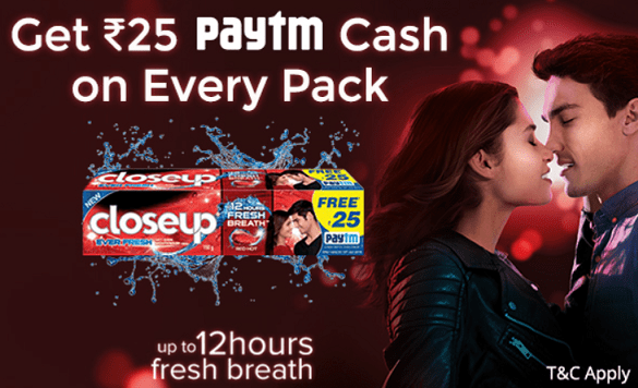 Closeup Paytm Offer - Get Free ₹ 25 Paytm Cash on Every Pack of Closeup