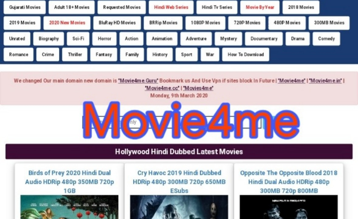 movie4me 2020 : Latest Bollywood, Hollywood, South Movies Download