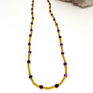 Collar Cristales Morado Gold