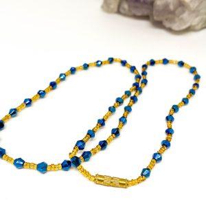 Collar Cristales Azul Gold
