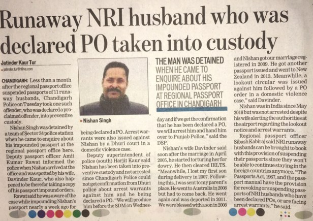 NRI Husband Passport Suspend