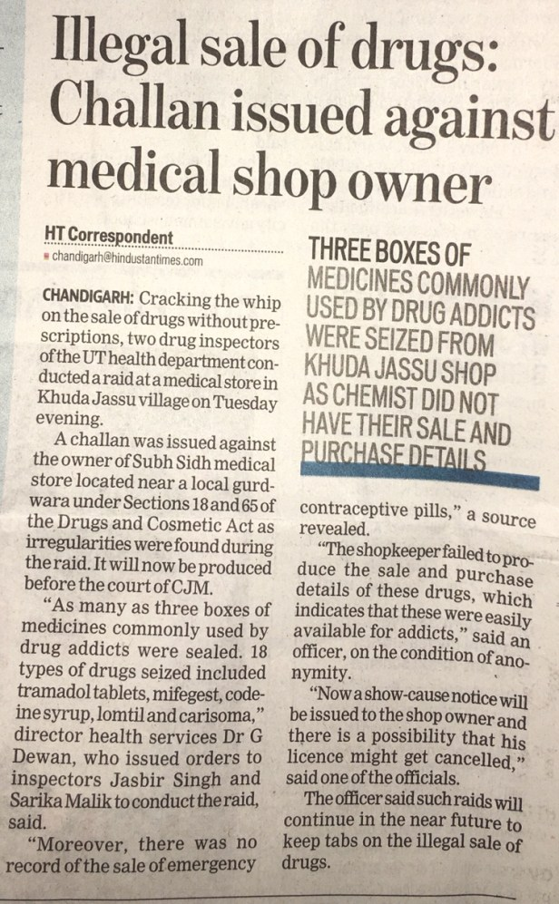 Drugs and Cosmetics Act Challan