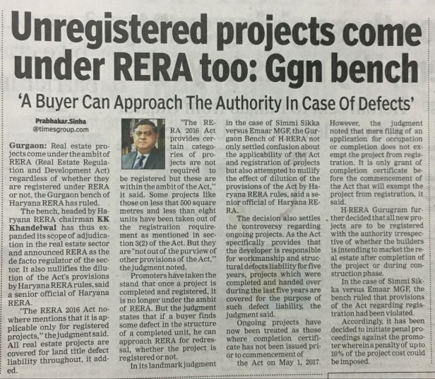 Unregistered Projects in Haryana RERA Authority