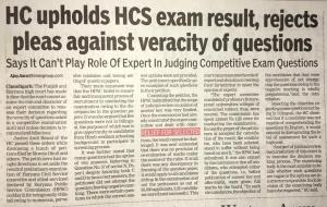 Challenging HCS Board Exam in High Court Chandigarh