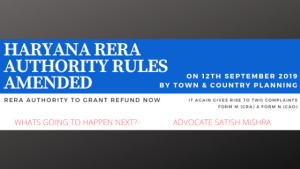 Haryana RERA Rules Amended 2019 September 12th