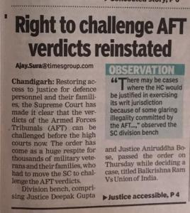 AFT Chandigarh Order Challenged in High Court