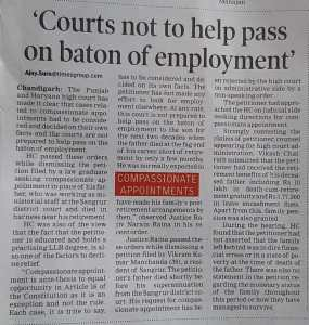 Compassionate Appointment Case in High Court Chandigarh