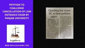 Punjab University Law Entrance Case High Court Chandigarh