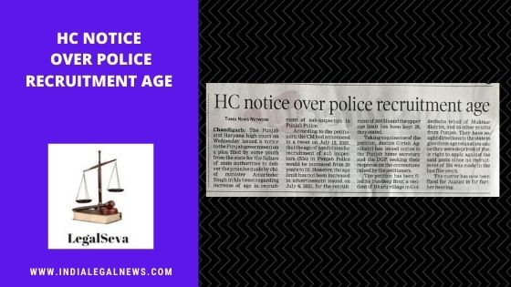 POLICE RECRUITMENT AGE challenged in High Court Chandigarh
