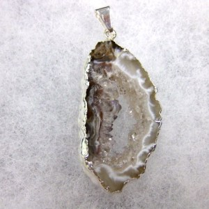 Genuine Silver Plate Geode Pendant