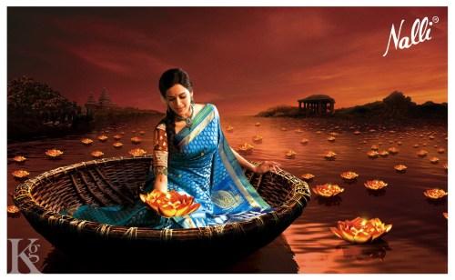 Pradhayini Sarvothaman posing for Nalli Silks (Kapil Ganesh Photography)