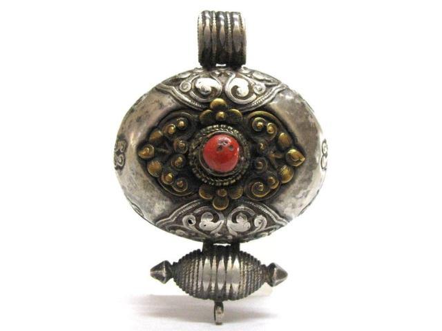 Tibetan Gau, Ghau Box, Parcel Gilt, Silver, Copper, Coral, 48.6 Grams, c.1850's